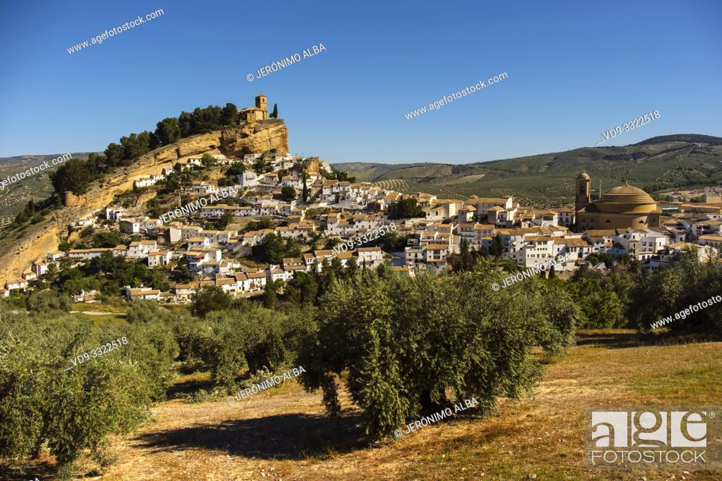 Stock Photo: Panoramic view typical Andalusian village of Montefrio. Granada province, southern Andalusia. Spain Europe.
