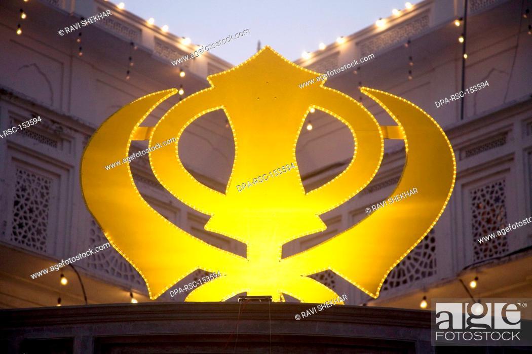 Symbol Monogram Of The Sikh Religion Swarn Mandir Golden Temple