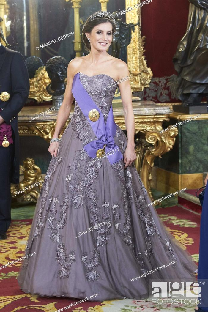 Stock Photo: Queen Letizia of Spain attends a gala Dinner honouring President of Peru and wife at Royal Palace on February 27, 2019 in Madrid, Spain.