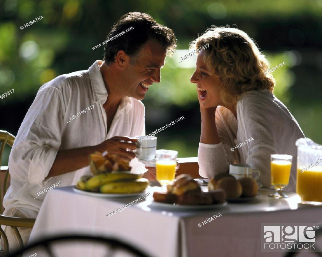 Stock Photo: Couple, Breakfast, happy.