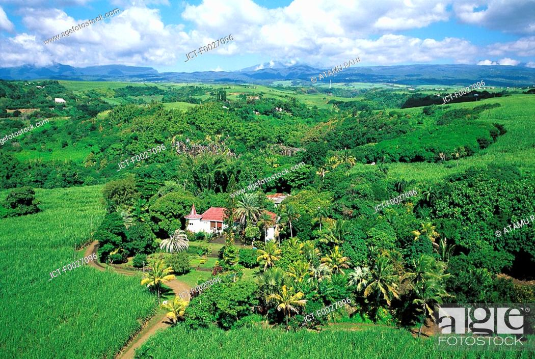 Stock Photo: Reunion, Sainte-Suzanne, ancient sugar cane plantation, aerial view.