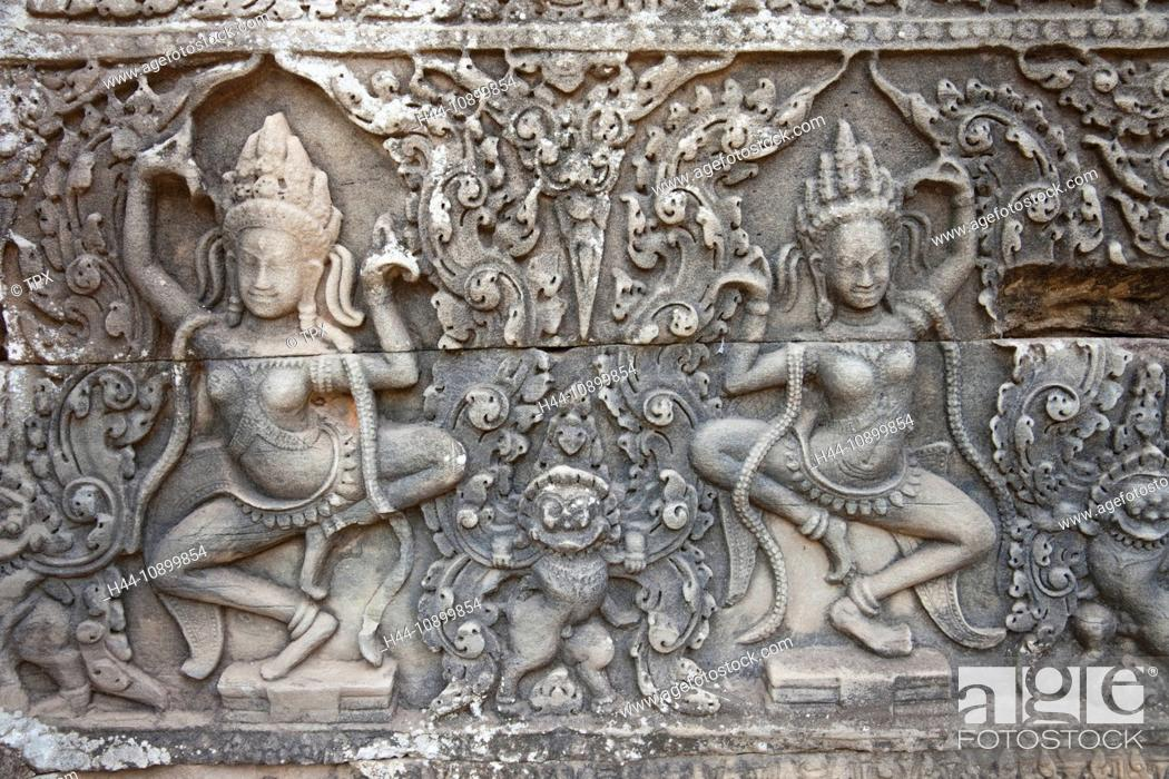 Stock Photo: Asia, Cambodia, Siem Reap, Angkor, Angkor Wat, Angkor Thom, Bayon, Bayon Temple, Relief, Reliefs, Apsara, Apsara Dancers, UNESCO, UNESCO World Heritage Sites.