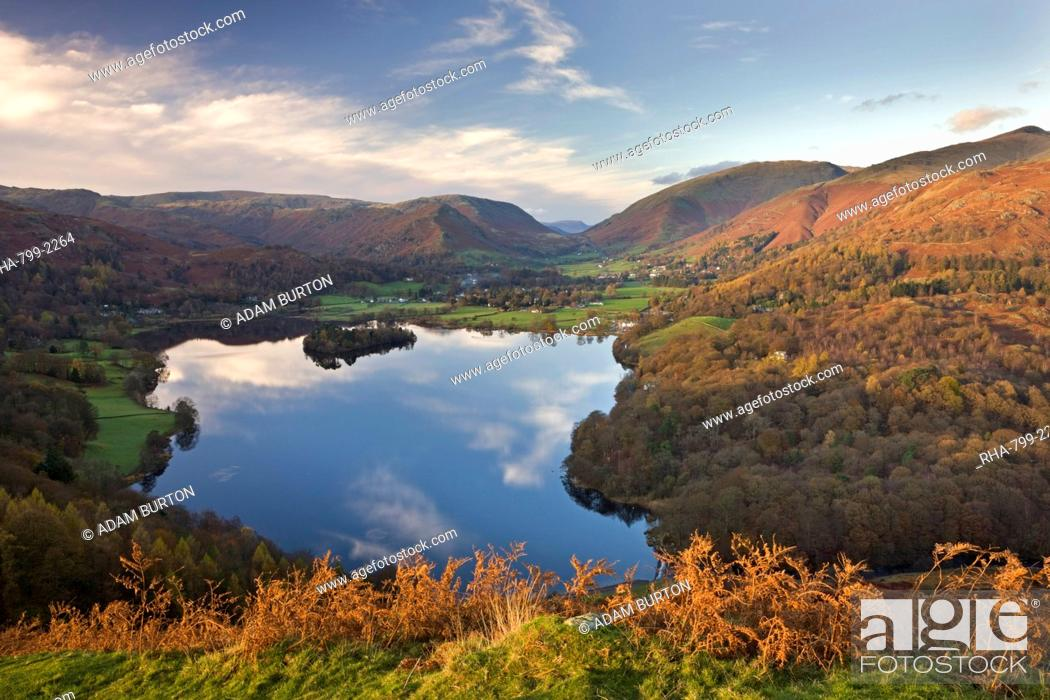 Stock Photo: Vista down towards Lake Grasmere from Loughrigg Fell, Lake District National Park, Cumbria, England, United Kingdom, Europe.