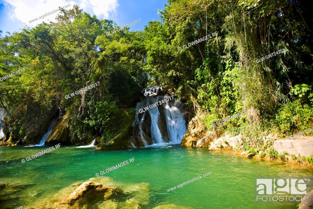 Stock Photo: Waterfalls in a forest, Tamasopo Waterfalls, Tamasopo, San luis Potosi, Mexico.