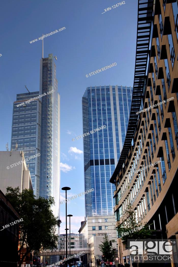 Stock Photo Heron Tower L 99 Bishopsgate C Anfd Deutsche Bank London Headquarters R