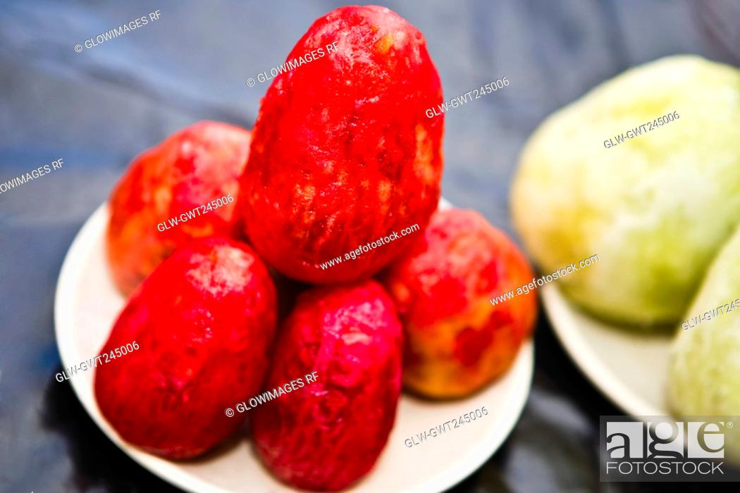Stock Photo: Close-up of prickly pears at a market stall, Zacatecas State, Mexico.