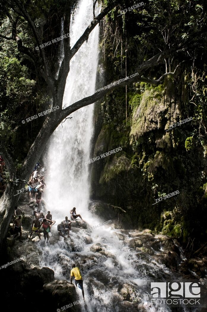 Stock Photo: Voodoo Festival in Saut d'Eau, Haiti. Every July, thousands of Haitians are aimed at Saut d'Eau, a waterfall located 60 km north of Port au Prince.