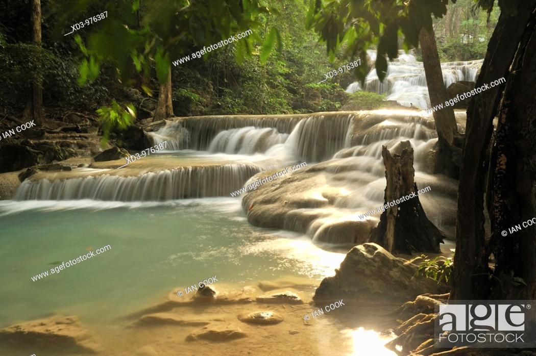 Stock Photo: Erawan Waterfall, a seven-tiered waterfall in Erawan National Park, Kanchanaburi Province, Thailand.