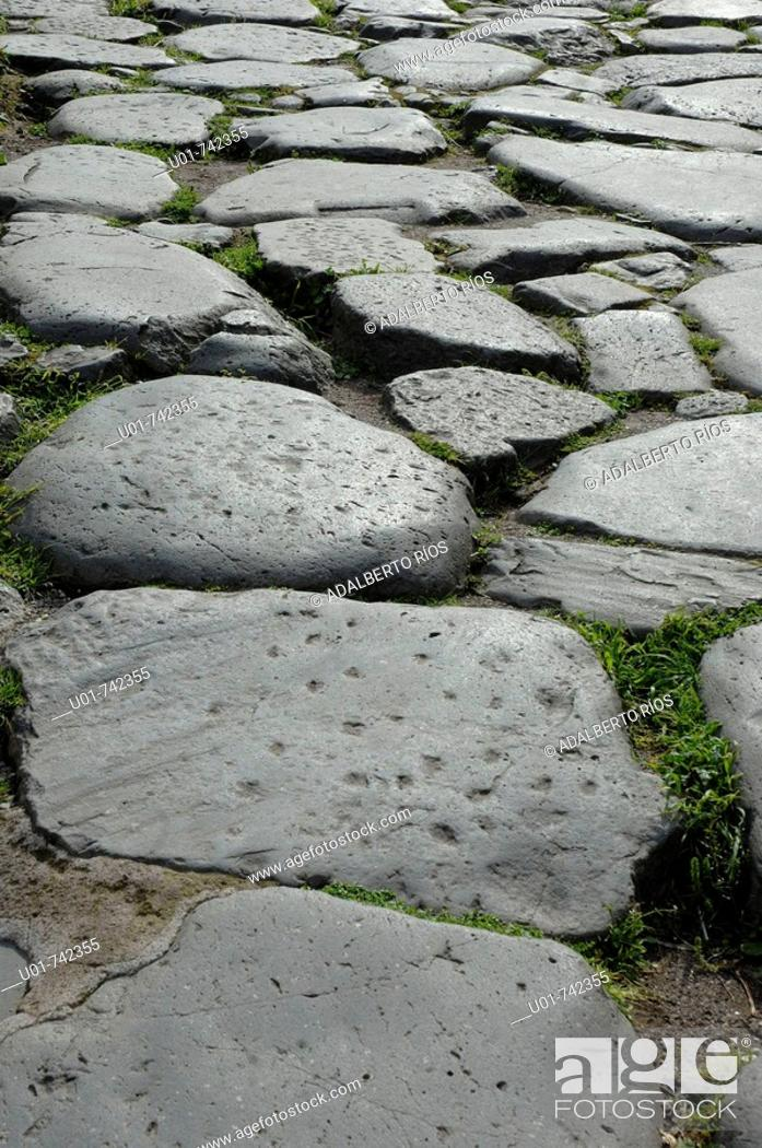 Stock Photo: stone pave in the Roma Forum, Via Sacra.