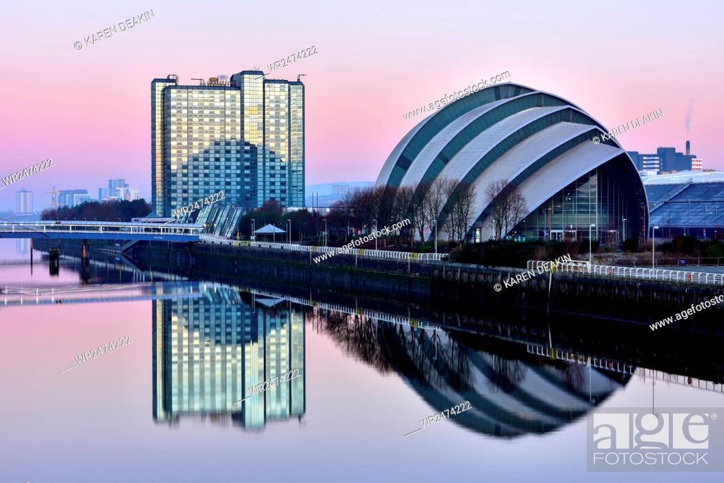 Stock Photo: Sunrise at The Clyde Auditorium (the Armadillo), Glasgow, Scotland, United Kingdom, Europe.