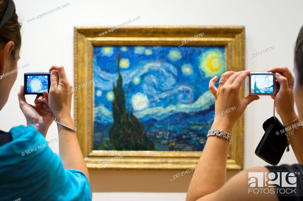 Stock Photo: Painting '' Starry Night '' by Van Gogh at the Museum of Modern Art MOMA .