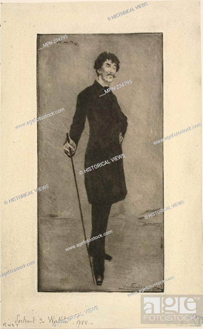 Stock Photo: Portrait of Whistler - c. 1888 - Henri Charles Guérard (French, 1846-1897) after William Merritt Chase (American, 1849-1916) - Artist: Henri Charles Guérard.