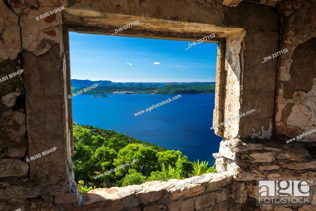 Stock Photo: Window view at St. Michael's Fort (13th Century Venetian ruins) Ugljan Island, Dalmatian Coast, Croatia.