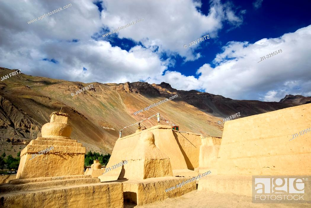 Stock Photo: famous monastery of Tabo, Spiti valley, India.
