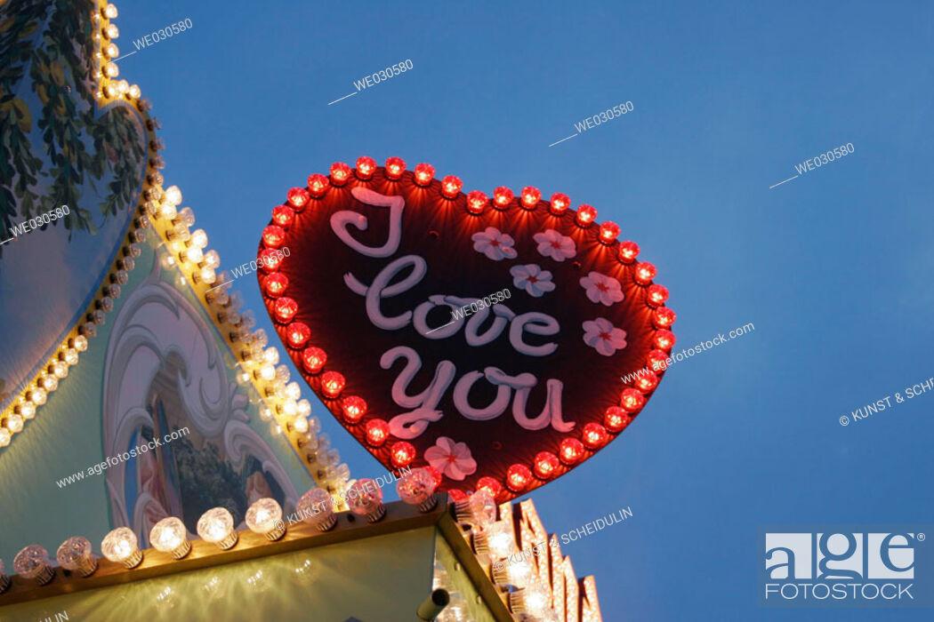 Stock Photo: Illuminated sign on a kermis, Ratisbone / Regensburg, Upper Palatinate, Bavaria, Germany.