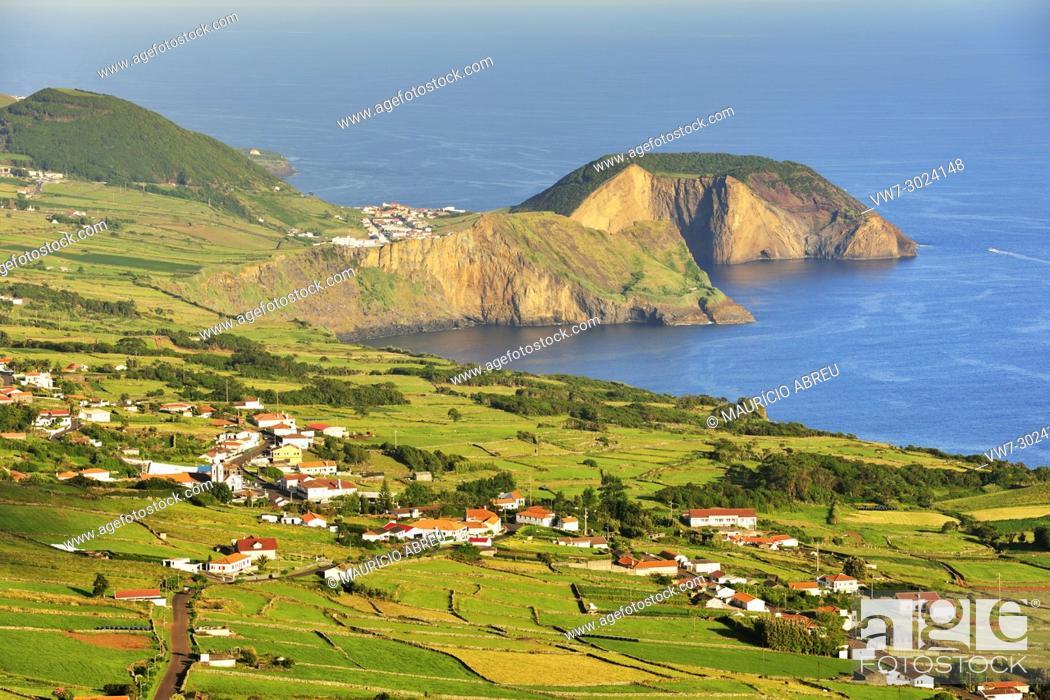 Stock Photo: Morro Grande, São Pedro and Velas. São Jorge island. Azores, Portugal.