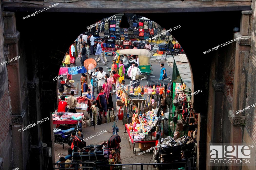 Arched view of market at gates of Bhadra fort in Ahmedabad