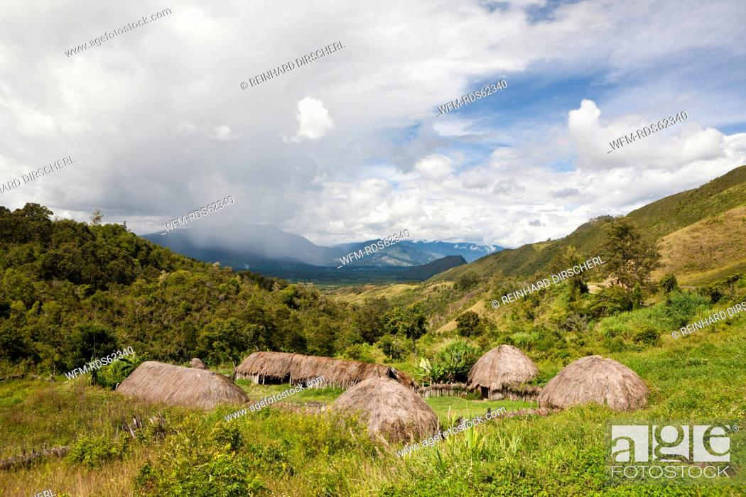Stock Photo: Traditional Dani Village at Baliem Valley, West Papua, Indonesia.