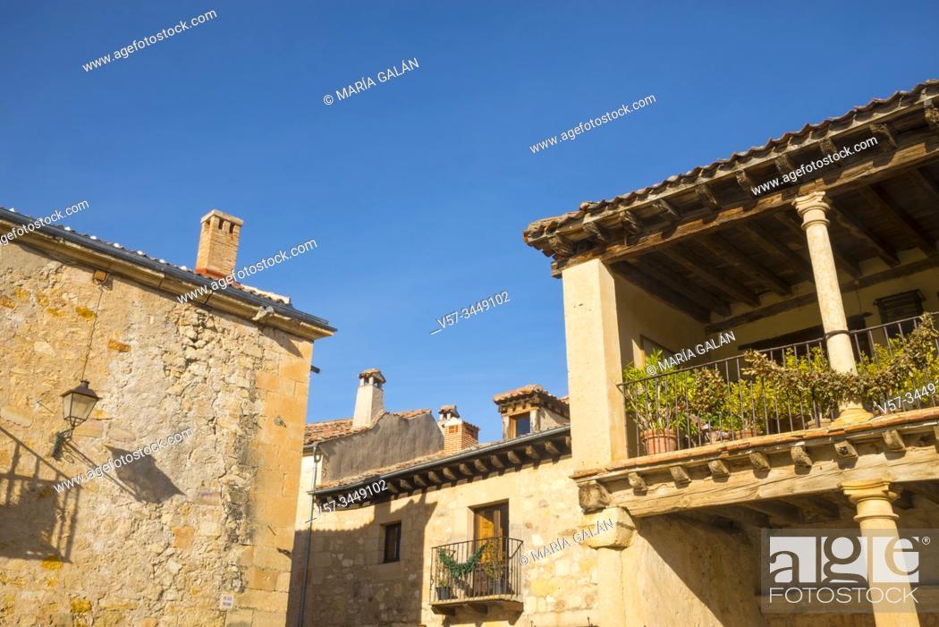 Stock Photo: Facades of houses. Plaza Mayor, Pedraza, Segovia province, Castilla Leon, Spain.