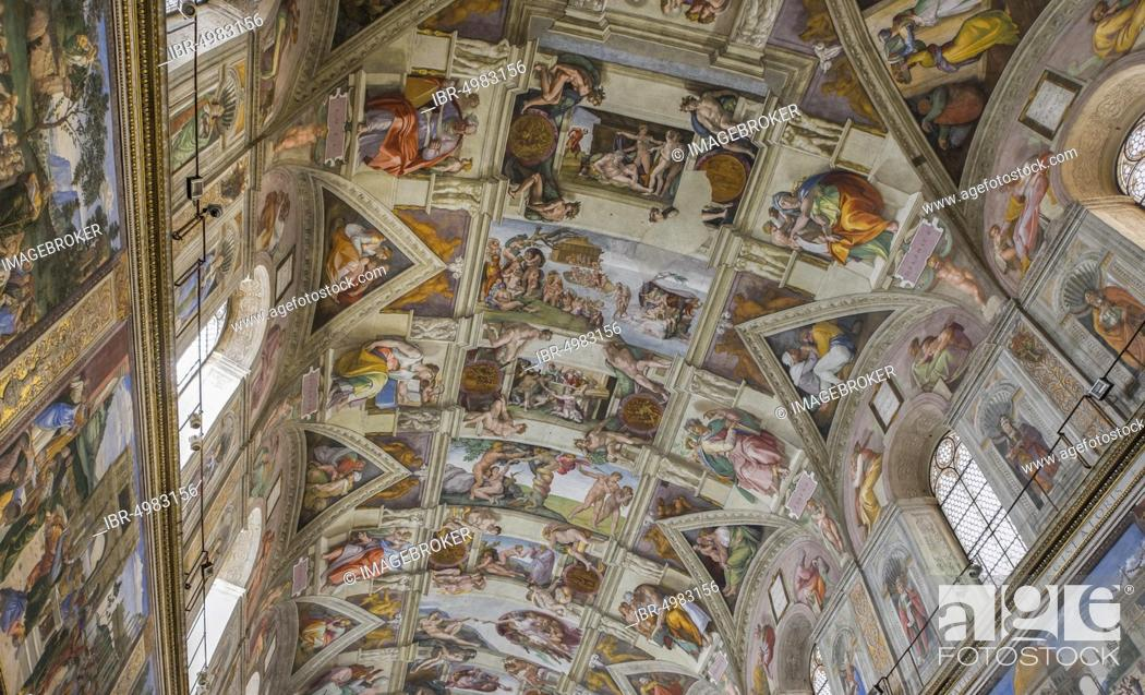 Sistine Chapel Ceiling Fresco By Michelangelo Buonarotti