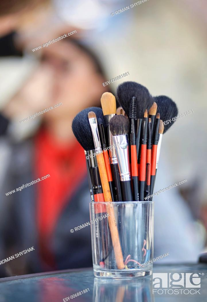 Stock Photo: Closeup of brushes for make-up.