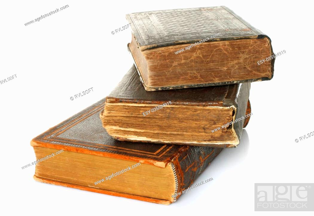 Photo de stock: Old books on white background.