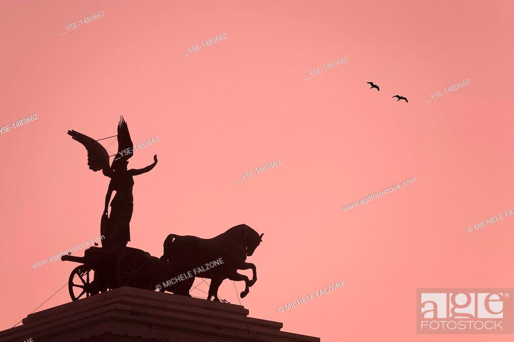 Stock Photo: Statue of Goddess Victory, Vittorio Emanuele II Monument Il Vittoriano, Rome, Italy TONED.