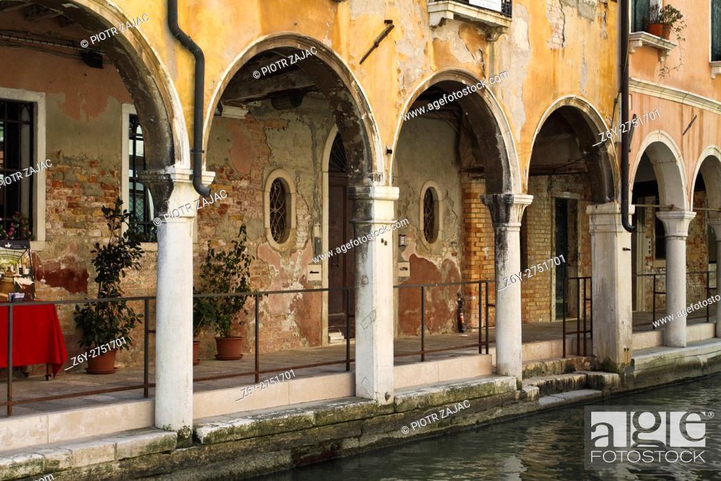 Stock Photo: Arcades in Venice, Italy.