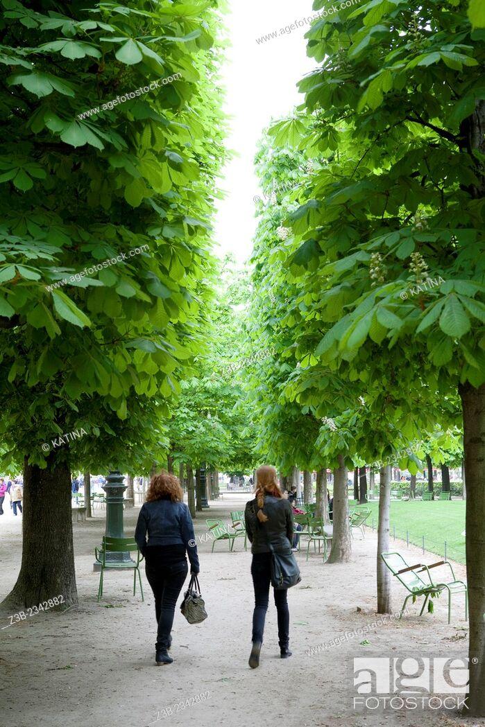 Imagen: Friends walking in Tuileries Gardens (Jardin des Tuileries) in spring, Paris, France, Europe.