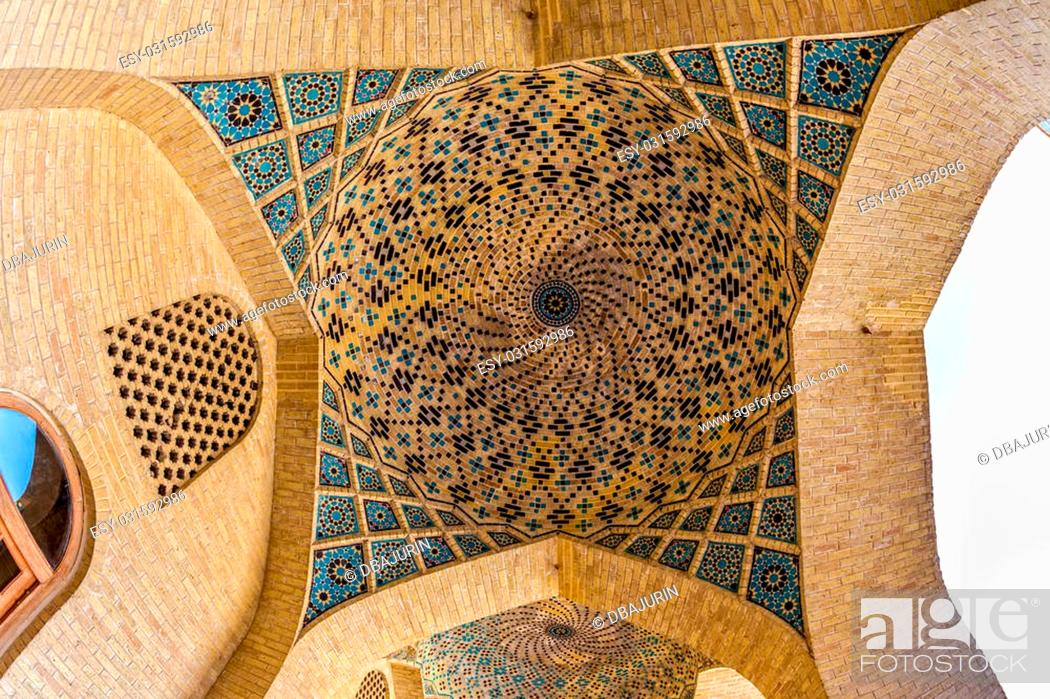 Stock Photo: Ceiling dome mosaic in the beautiful Nasir Al-Mulk Mosque or Pink Mosque a traditional mosque located in Goad-e-Araban place in Shiraz.