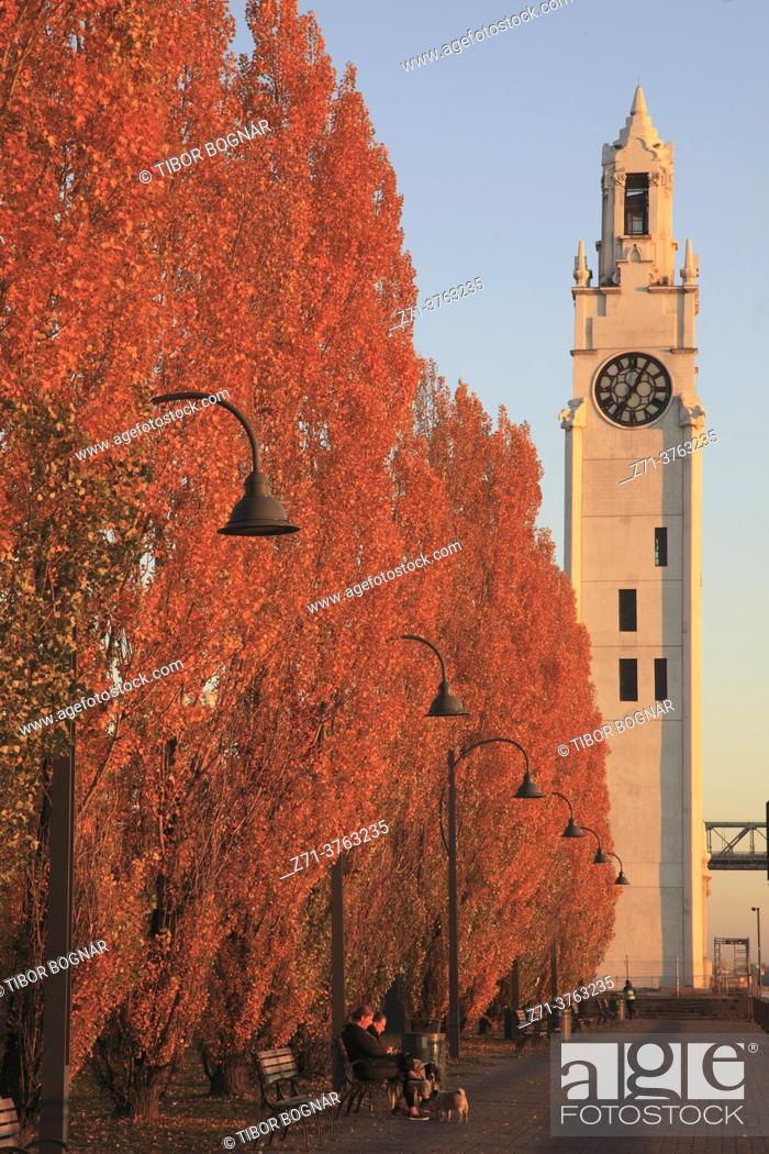 Stock Photo: Canada, Quebec, Montreal, Old Port, Clock tower, autumn colors, .