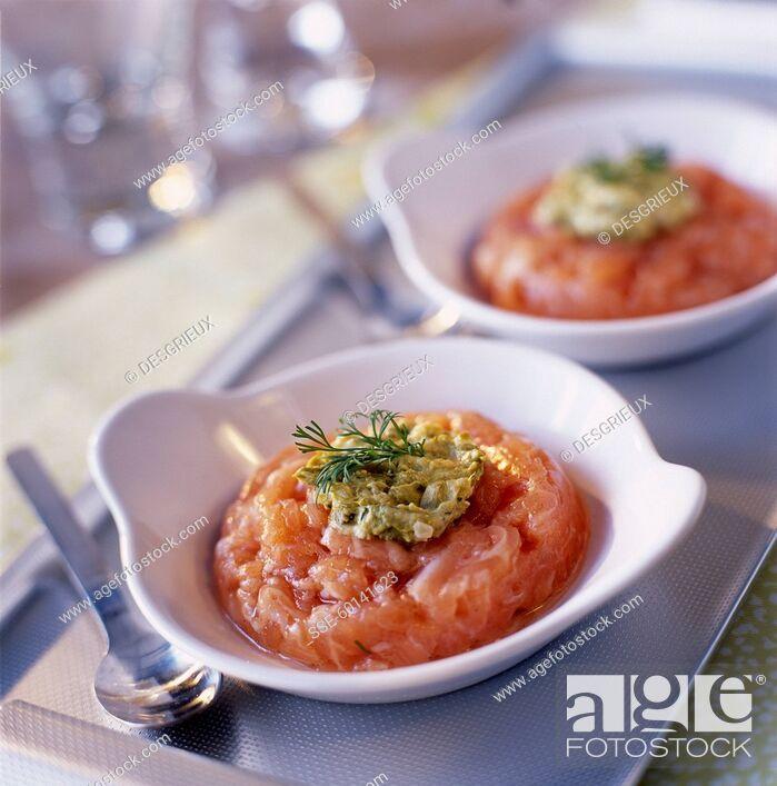 Stock Photo: Salmon tartare.