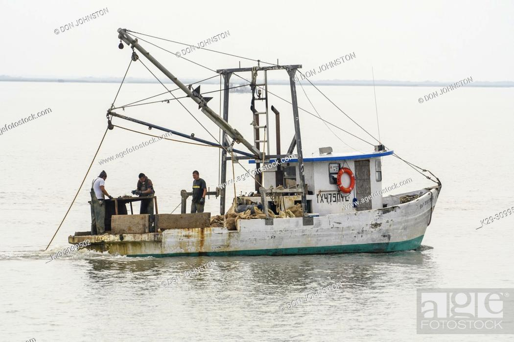 Stock Photo: Workers sorting oysters on an oyster fishing boat in Aransas Bay, Rockport, Texas, USA.