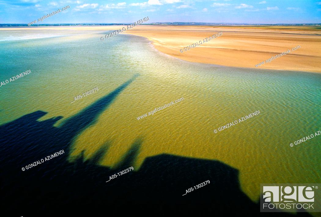 Stock Photo: Shadow in bay of Mont Saint Michel  Manche Department, Basse-Normandie region, Normandy, France, Europe  Bahia del Mont Sant Michel  Normandia.
