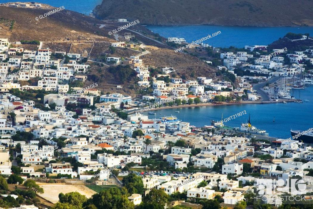 Stock Photo: High angle view of a cityscape, Skala, Patmos, Dodecanese Islands, Greece.