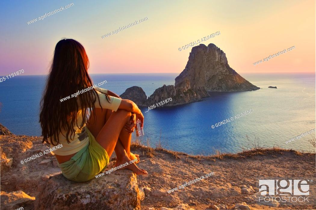 Stock Photo: Sunset in es Vedrá. Sant Josep de sa Talaia. Ibiza. Balearic Islands. Spain.