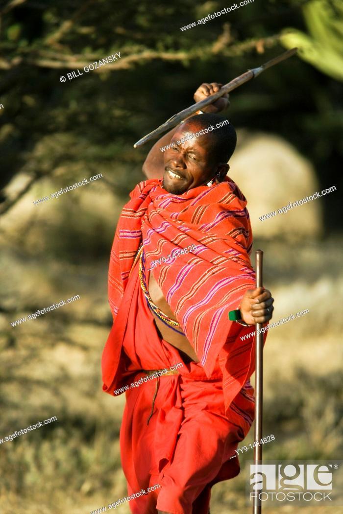 Maasai Warrior throwing spear - Maji Moto Maasai Village