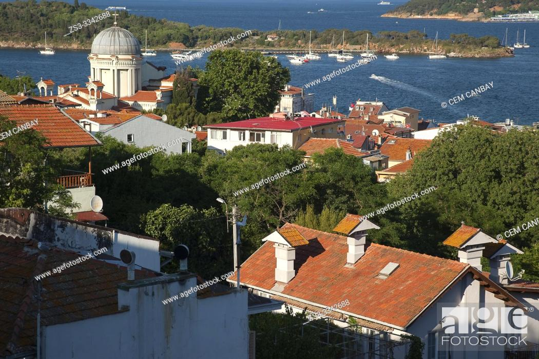 Stock Photo: View to the Agios Ioanis Orthodox Church in Burgazada island, Prince Islands, Istanbul, Marmara Region, Turkey, Europe.