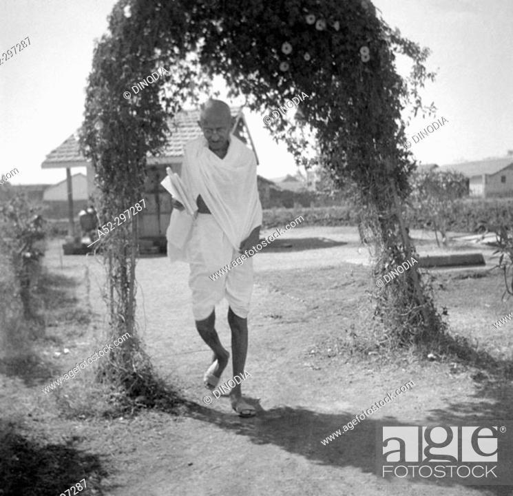 Stock Photo: Gandhi before his fast at Rajkot. Gujarat. India. March 3, 1939.