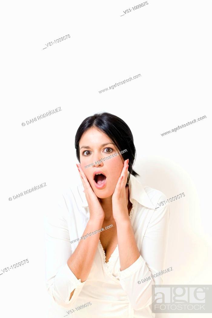 Stock Photo: Portrait of a brunette woman.