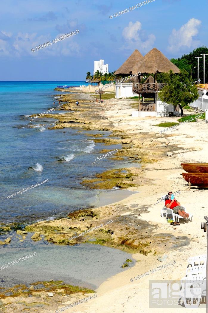 Stock Photo: Beach Shoreline Cozumel Mexico Caribbean Cruise Ship Port.