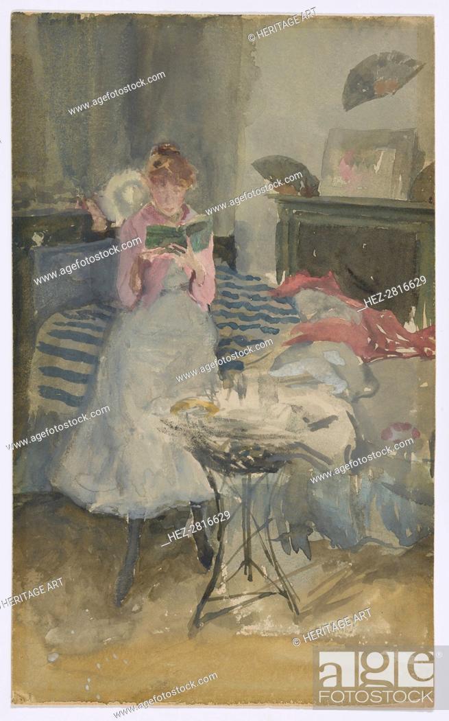 Stock Photo: Pink Note - The Novelette, 1883-1884. Creator: James Abbott McNeill Whistler.