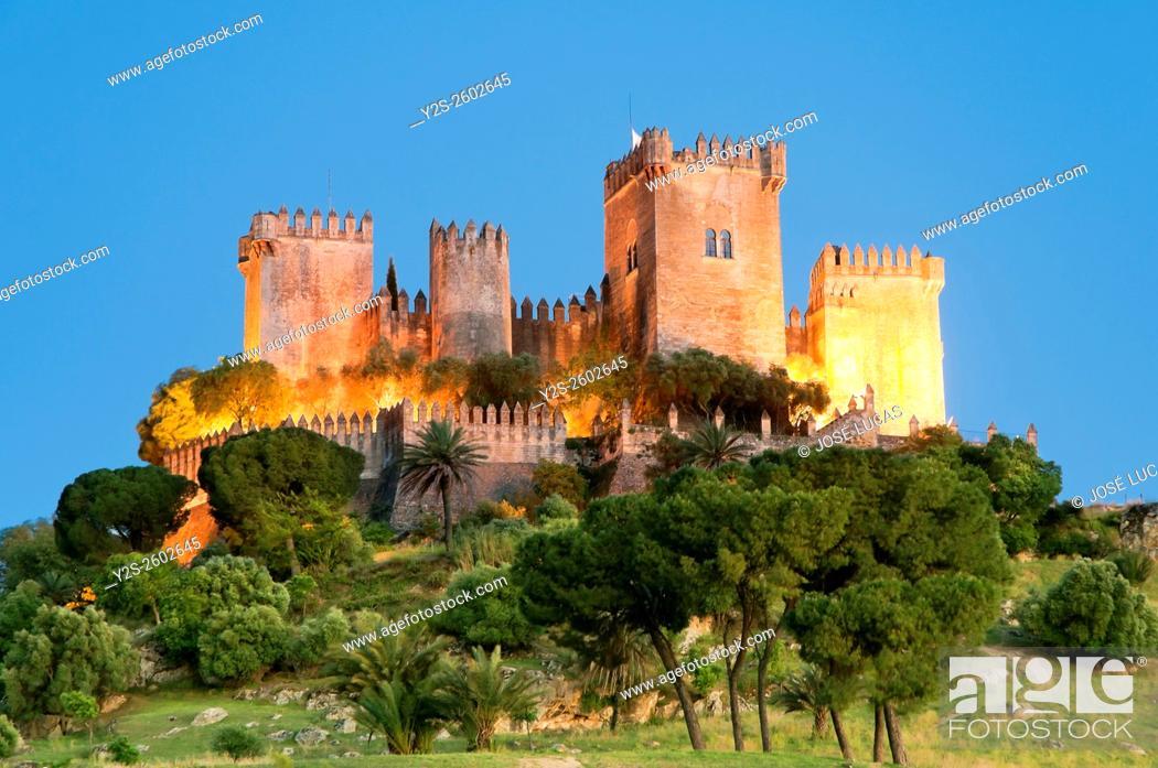 Stock Photo: Castle at dusk, Almodovar del Rio, Cordoba province, Region of Andalusia, Spain, Europe.