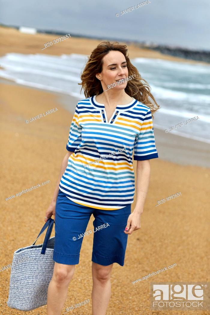 Stock Photo: Woman, Plage de la Barre beach, Anglet, Biarritz, Atlantic Pyrenees, France, Europe.