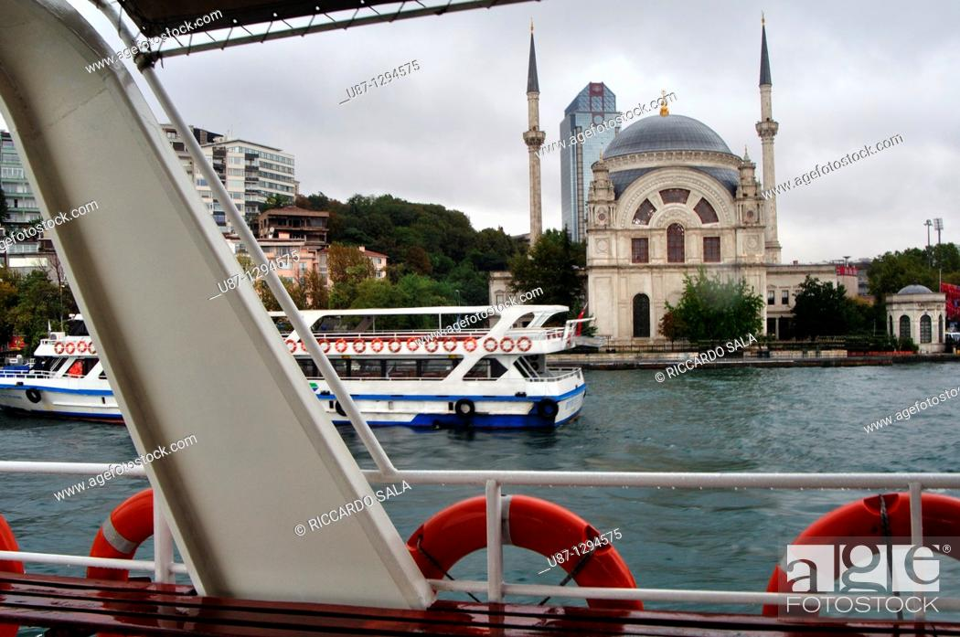 Stock Photo: Turkey, Istanbul, Bosphorus Strait, Ferry Boat, Dolmabahce Mosque.