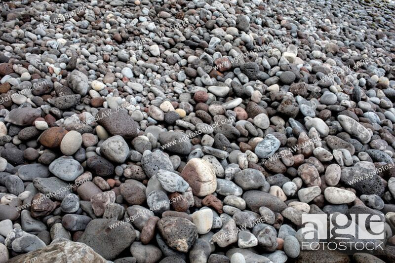 Stock Photo: A rocky beach on the north coast of Madeira. Portugal.