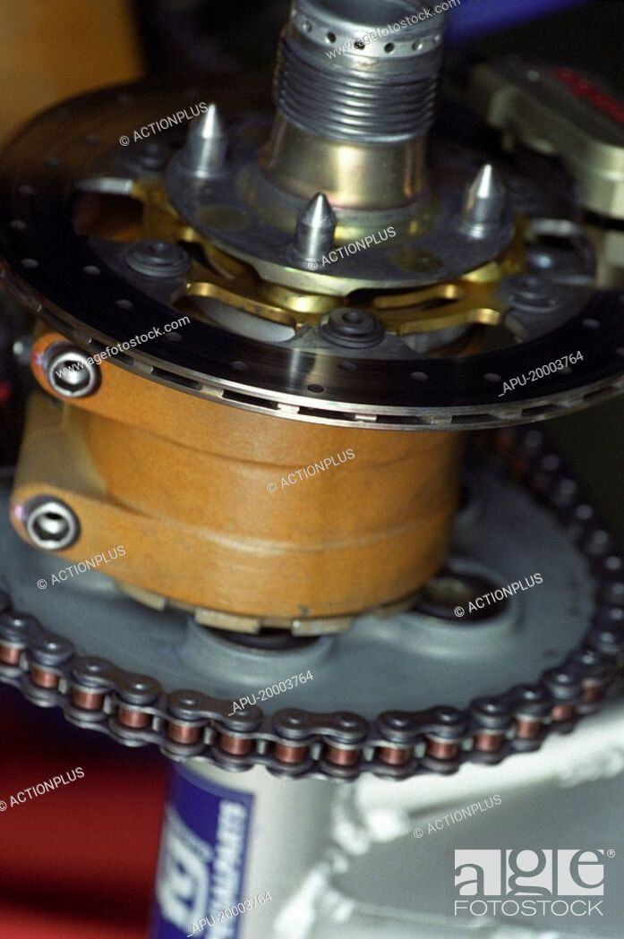 Stock Photo: Close-up view of motorcycle race sprocket.