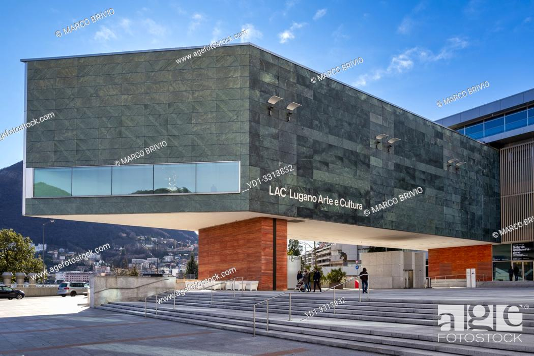 Stock Photo: Lugano Arte e Cultura (LAC) is a cultural centre dedicated to music, visual and performance arts opened in 2015 in Lugano, Switzerland.