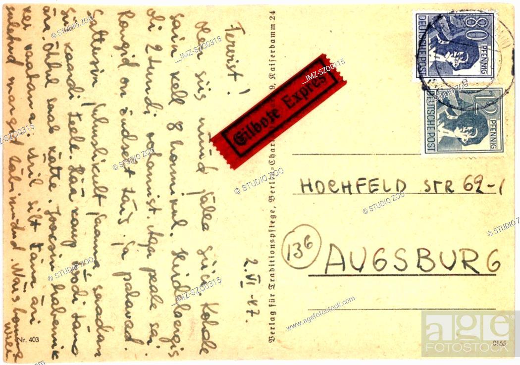 Stock Photo: Vintage postcard with script writing, Deutsche Post.
