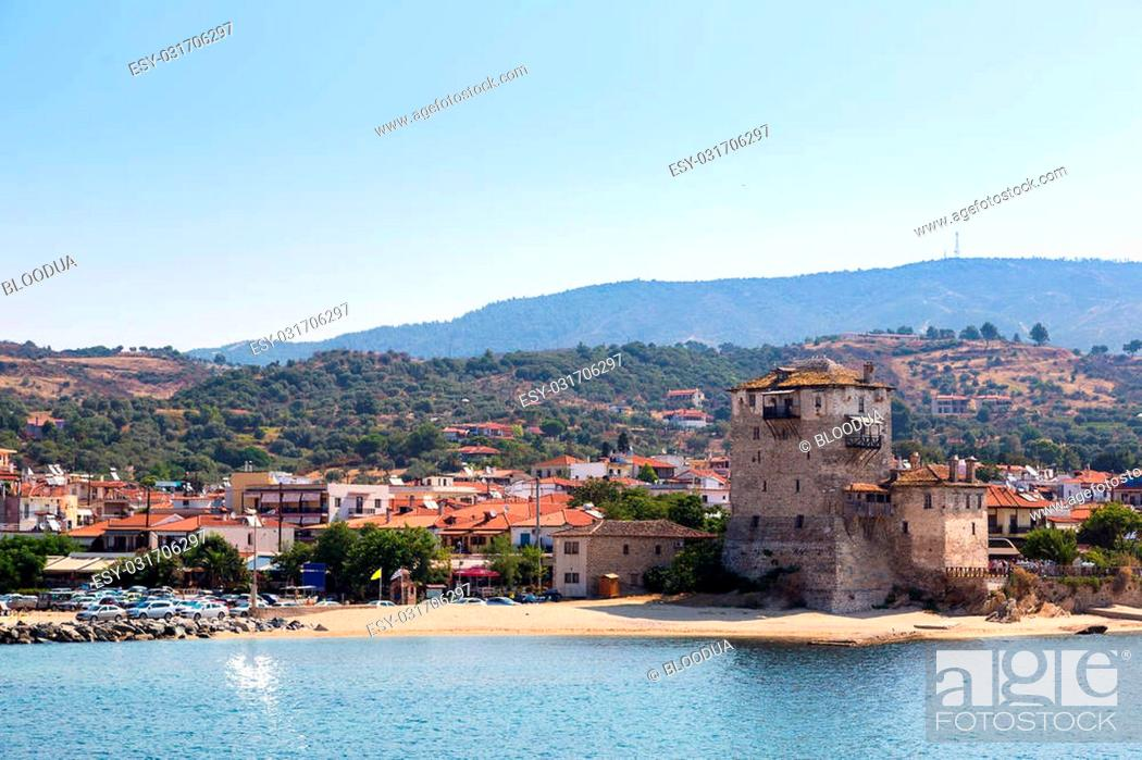 Stock Photo: Ouranoupolis tower in Chalkidiki, Greece in a summer day.